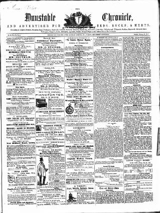 cover page of Dunstable Chronicle, and Advertiser for Beds, Bucks & Herts published on February 21, 1857