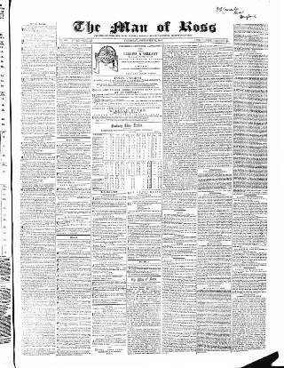 cover page of Man of Ross, and General Advertiser published on September 22, 1864