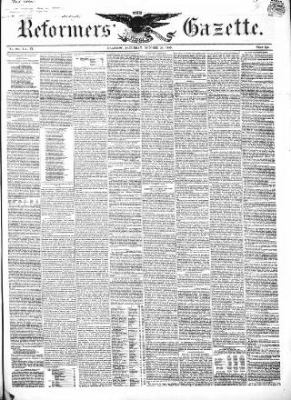cover page of Glasgow Gazette published on October 20, 1849