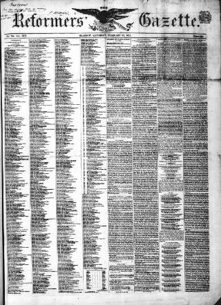 cover page of Glasgow Gazette published on February 22, 1851