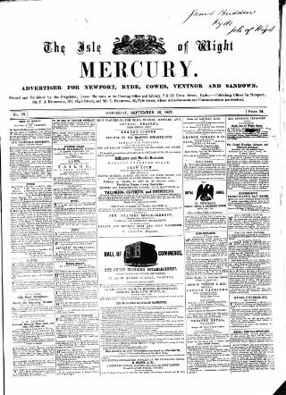 cover page of Isle of Wight Mercury published on September 26, 1857