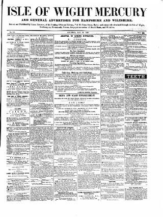 cover page of Isle of Wight Mercury published on May 29, 1858