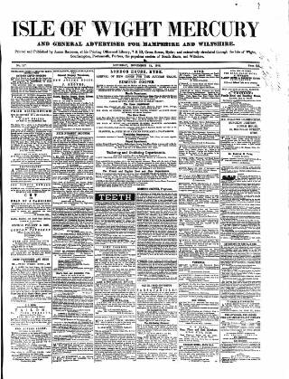 cover page of Isle of Wight Mercury published on November 13, 1858