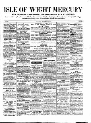 cover page of Isle of Wight Mercury published on December 25, 1858