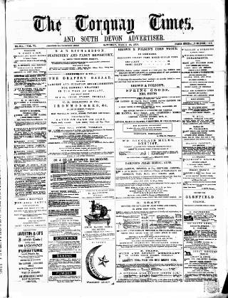cover page of Torquay Times, and South Devon Advertiser published on March 19, 1870