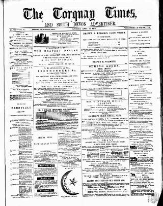 cover page of Torquay Times, and South Devon Advertiser published on April 23, 1870