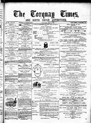 cover page of Torquay Times, and South Devon Advertiser published on June 3, 1871