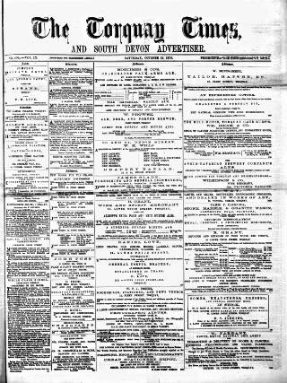 cover page of Torquay Times, and South Devon Advertiser published on October 18, 1873