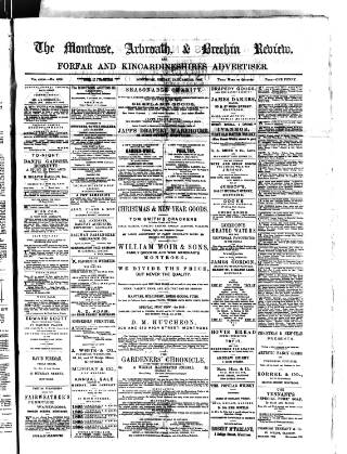 cover page of Montrose, Arbroath and Brechin review; and Forfar and Kincardineshire advertiser. published on January 18, 1895