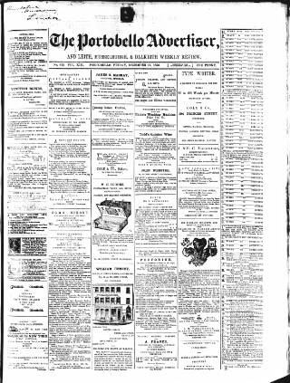 cover page of Portobello Advertiser published on December 15, 1876
