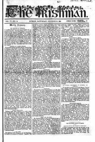 cover page of The Irishman published on October 19, 1861