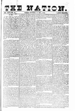 cover page of Dublin Weekly Nation published on July 13, 1878