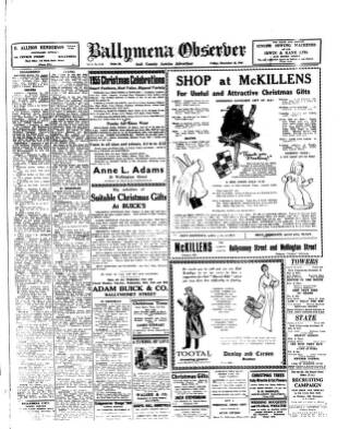 cover page of Ballymena Observer published on December 16, 1955