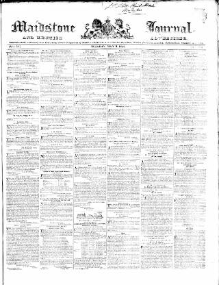 cover page of Maidstone Journal and Kentish Advertiser published on May 9, 1843