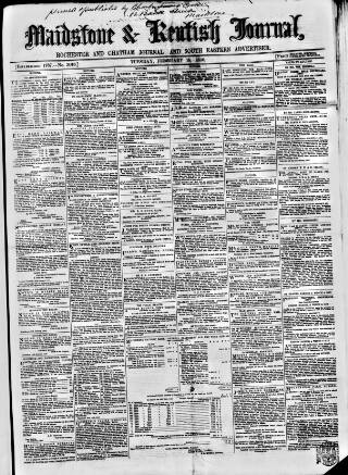 cover page of Maidstone Journal and Kentish Advertiser published on February 19, 1856