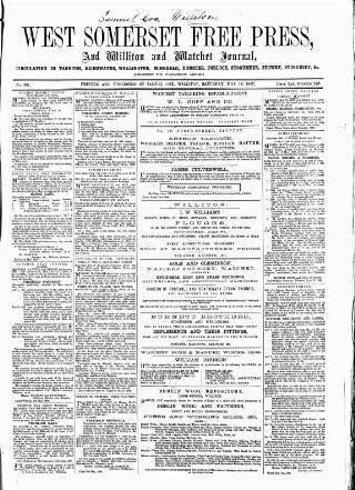 cover page of West Somerset Free Press published on May 16, 1868
