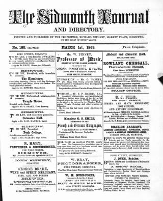 cover page of Sidmouth Journal and Directory published on March 1, 1869
