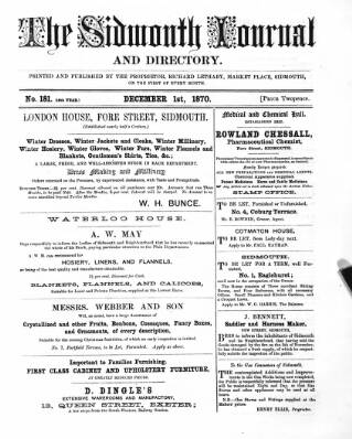 cover page of Sidmouth Journal and Directory published on December 1, 1870