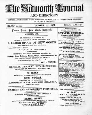 cover page of Sidmouth Journal and Directory published on October 1, 1873