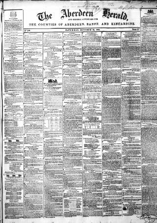 cover page of Aberdeen Herald and General Advertiser published on October 24, 1846