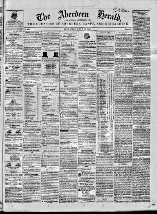 cover page of Aberdeen Herald and General Advertiser published on July 15, 1848
