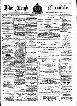 cover page of Leigh Chronicle and Weekly District Advertiser published on October 17, 1884