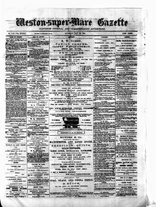 cover page of Weston-super-Mare Gazette, and General Advertiser published on May 29, 1875