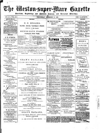 cover page of Weston-super-Mare Gazette, and General Advertiser published on December 13, 1899