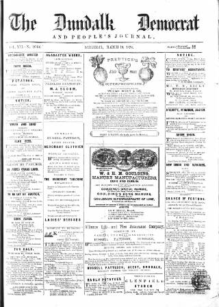 cover page of Dundalk Democrat, and People's Journal published on March 19, 1870