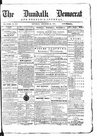 cover page of Dundalk Democrat, and People's Journal published on December 14, 1872