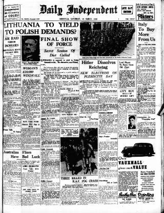 cover page of Sheffield Independent published on March 19, 1938