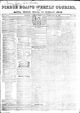 cover page of Pierce Egan's Weekly Courier published on February 22, 1829