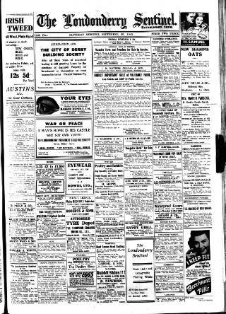 cover page of Londonderry Sentinel published on September 26, 1942