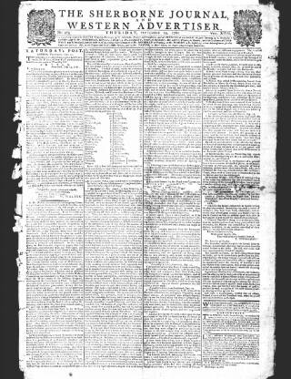 cover page of Sherborne Journal published on September 19, 1782