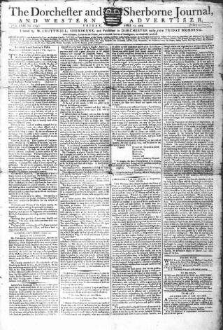 cover page of Dorchester and Sherborne journal, and Western Advertiser published on April 17, 1795