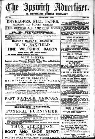 cover page of Ipswich Advertiser, or, Illustrated Monthly Miscellany published on February 1, 1862