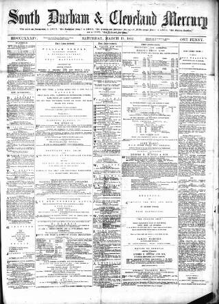 cover page of South Durham & Cleveland Mercury published on March 17, 1877