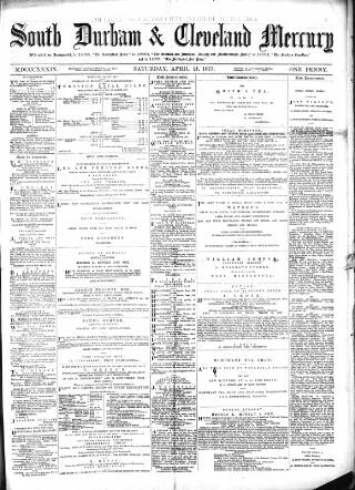 cover page of South Durham & Cleveland Mercury published on April 21, 1877
