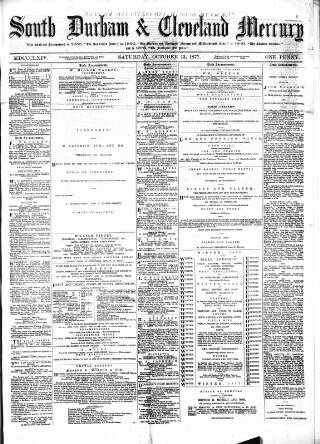 cover page of South Durham & Cleveland Mercury published on October 13, 1877