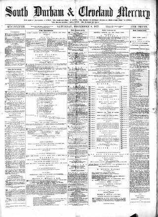 cover page of South Durham & Cleveland Mercury published on December 8, 1877