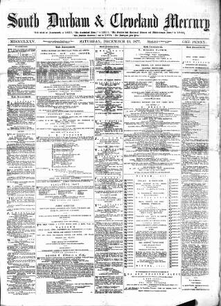 cover page of South Durham & Cleveland Mercury published on December 29, 1877
