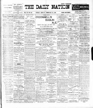 cover page of Dublin Daily Nation published on February 20, 1899
