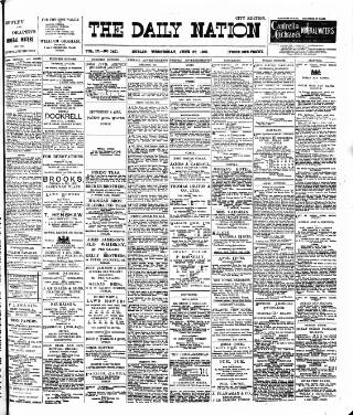 cover page of Dublin Daily Nation published on June 20, 1900