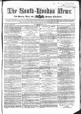 cover page of Lambeth and Southwark Advertiser published on October 17, 1857