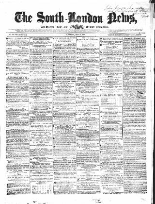 cover page of Lambeth and Southwark Advertiser published on May 26, 1860