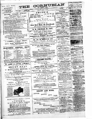 cover page of Cornubian and Redruth Times published on May 9, 1884
