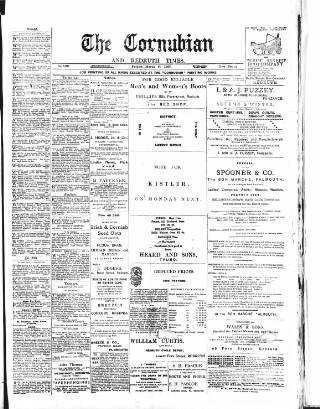 cover page of Cornubian and Redruth Times published on March 24, 1899