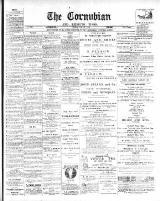 cover page of Cornubian and Redruth Times published on July 20, 1900