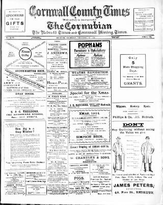 cover page of Cornubian and Redruth Times published on December 18, 1924