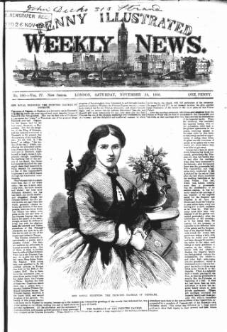 cover page of Illustrated Weekly News published on November 24, 1866